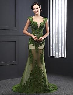 Formal Evening Dress A-line V-neck Sweep/Brush Train Lace