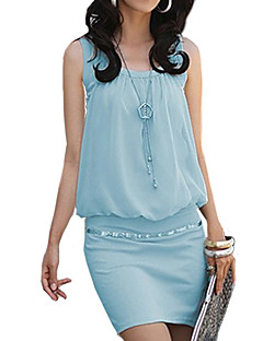 Women's Casual/Daily Street chic Sheath / T Shirt Dress,Solid U Neck Mini Sleeveless Blue / Pink / White / BlackCotton / Polyester /