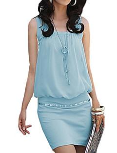 Vrouwen Casual/Dagelijks Street chic Schede / T Shirt Jurk Effen-U-hals Mini Mouwloos Blauw / Roze / Wit / ZwartKatoen / Polyester /