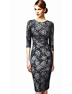 Women's Party/Cocktail Plus Size Dress,Floral Round Neck Knee-length ½ Length Sleeve Black Cotton / Polyester All Seasons