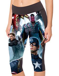 Yoga Pants 3/4 calças justas Compressão Alto Elasticidade Alta Wear Sports Azul Mulheres Outros Ioga / Fitness