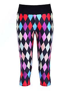 Corrida 3/4 calças justas / Leggings / Fundos Mulheres Compressão Poliéster Ioga / Exercicio e Fitness Esportivo Elasticidade Alta