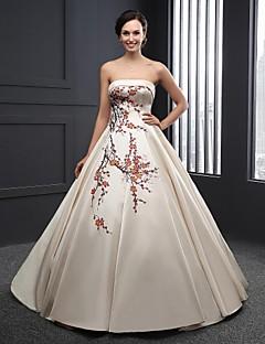 A-라인 웨딩 드레스 바닥 길이 끈없는 스타일 새틴 와