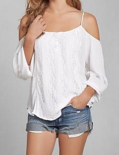 Langærmet Med stropper Medium Kvinders Hvid Ensfarvet Sommer Sexet I-byen-tøj T-shirt,Bomuld / Polyester