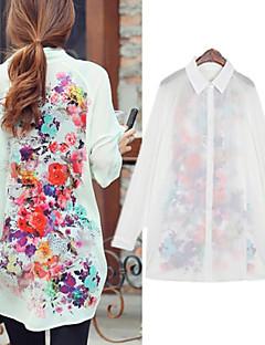 Frauen weiß / grün Langarm-Blumendruck Chiffon langen Bluse