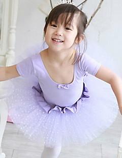 Balé Vestidos Crianças Actuação Algodão / Tule Dobras em Cascata / Bolinhas 1 Peça Manga Curta Vestidos