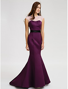 Lanting Court Train Satin Bridesmaid Dress - Grape Trumpet/Mermaid Jewel
