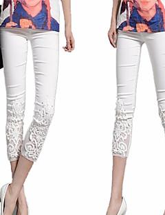 דק - סטרצ'י (נמתח) - סקיני - מכנסי נשים(כותנה / פוליאסטר / ניילון)