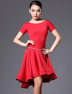Latin Dance Dresses Women's Performance Spandex / Polyester Draped 2 Pieces Dress / Shorts Dress M:76cm / L:77cm / XL:78cm / XXL:79cm