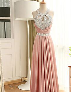 Formal Evening Dress Sheath / Column Halter Floor-length Stretch Satin with Beading / Crystal Detailing / Sequins