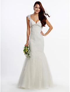Lanting Bride® Leger & Aufgebauscht Hochzeitskleid Pinsel Schleppe V-Ausschnitt Tüll mit Applikationen / Kristall