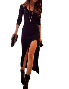 moulante solide haute cuisse robe fendue maxi des femmes