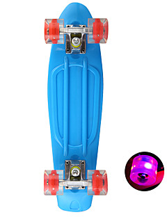 Kunststoff-Skateboard (22 Zoll) Kreuzer Bord Himmel blau mit LED-Blinkräder