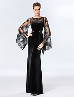 Formal Evening Dress Sheath / Column Scoop Floor-length Velvet with Lace