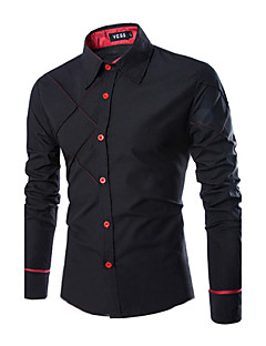 Bomull Polyester Langermet Skjorte Ensfarget Fritid/hverdag Plusstørrelser Herre