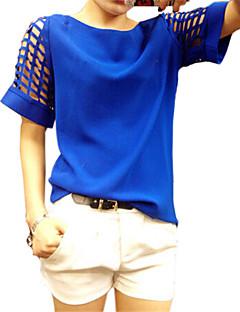Sommar Enfärgad Kortärmad Ledigt/vardag / Plusstorlek T-shirt,Enkel Kvinnors Rund hals Bomull / Övrigt Medium Blå / Vit / Gul