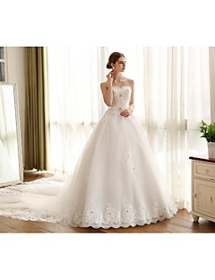 Ball Gown Wedding Dress - White Cathedral Train Strapless Lace / Satin / Tulle
