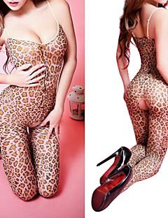 Damen Teddy Nachtwäsche Leopard Acryl Elasthan Schwarz