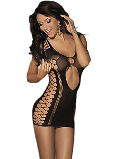 Women's White/Black Sexy Cut Out Knitted Transparent Teddies