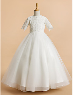 Lanting Bride ® A-line Tea-length Flower Girl Dress - Tulle Short Sleeve Jewel with Lace