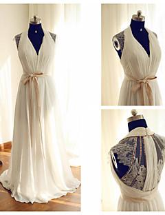 웨딩 드레스 - 아이보리(색상은 모니터에 따라 다를 수 있음) A 라인 스위프/브러쉬 트레인 홀터 쉬폰 / 레이스