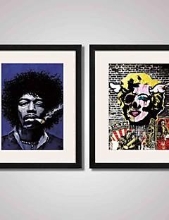 Abstrakt / Musik / Menschen / Berühmte Gerahmte Printkunst / Gerahmtes Leinenbild / Gerahmtes Set Wall Art,PVC SchwarzPasspartout