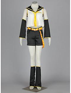 Ispirato da Vocaloid Kagamine Rin anime Costumi Cosplay Abiti Cosplay Collage BiancoMaglietta / Gonna / Accessori per capelli / Fascia