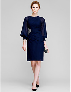 Lanting Bride Sheath / Column Mother of the Bride Dress Knee-length Long Sleeve Chiffon with Beading / Side Draping
