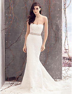 Lanting Bride Trumpet/Mermaid Wedding Dress-Court Train Strapless Lace
