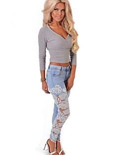 נשים מכנס סקסי / קז'ואל / תחרה תחרה / ג'ינס
