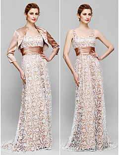 Lanting Sheath/Column Mother of the Bride Dress - Champagne Sweep/Brush Train 3/4 Length Sleeve Lace / Charmeuse