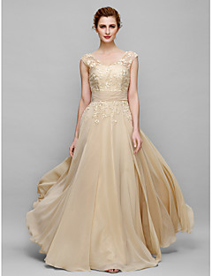 A-line Mother of the Bride Dress Floor-length Sleeveless Chiffon with Appliques
