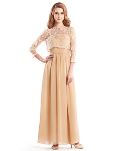 A-line Mother of the Bride Dress - Ankle-length 3/4 Length Sleeve Chiffon / Lace