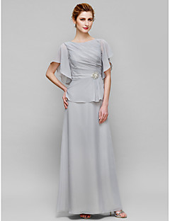 Sheath / Column Mother of the Bride Dress Ankle-length Short Sleeve Chiffon with Crystal Detailing / Side Draping