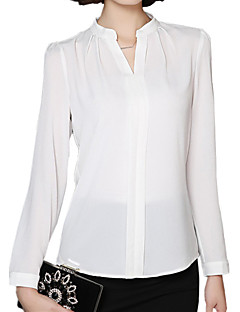 Spring Women's Solid Color Chiffon V Neck Long Sleeve Slim Bottoming OL Shirt Tops Blouse