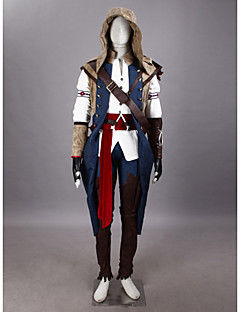 geinspireerd door Assassin's Creed Connor Video Spel Cosplay Kostuums Cosplay Kostuums Patchwork  WitMantel / T-Shirt / Broeken / Hoed /