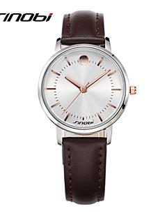 Damen Modeuhr Armbanduhren für den Alltag Quartz Wasserdicht Leder Band Braun Marke SINOBI