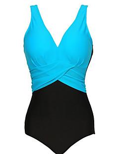 Women's Plus Size Color Block V Neck One Piece Swimsuit(M-4XL)