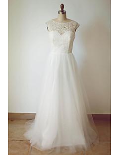 A-라인 웨딩 드레스 스윕 / 브러쉬 트레인 스쿱 튤 와 레이스