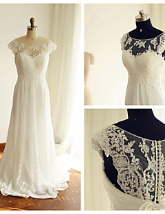 A-line Wedding Dress - Ivory Court Train Scoop Chiffon / Lace