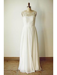A-라인 웨딩 드레스 바닥 길이 스쿱 쉬폰 와 레이스