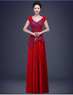저녁 정장파티 드레스 - 루비 볼 드레스 바닥 길이 V-넥 쉬폰 / 레이스