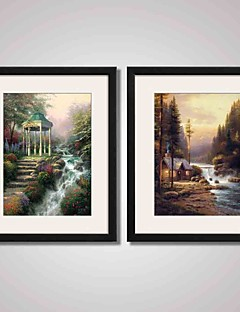 Framed Forest Landscape Painting Canvas Print Art for  Home Decoration 40x50cm Set of 2 Ready To Hang