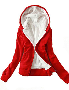 Women's Plus Size Casual/Daily Hoodie Jacket Solid Micro-elastic Cotton Long Sleeve Spring Fall
