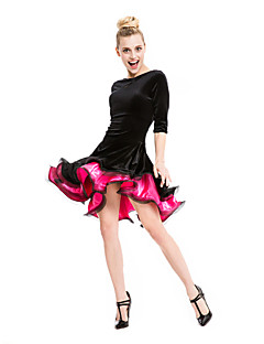 Latin Dance Dresses&Skirts Women's Performance Velvet / Viscose Ruched 1 Piece 5 Colors