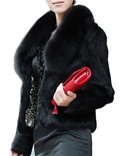 Feminino Casaco de Pêlo Festa/Coquetel Inverno, Sólido Pêlo SintéticoManga Longa