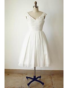 A-line Wedding Dress Tea-length V-neck Satin with Beading / Button / Ruche