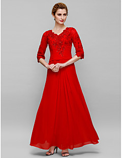 Lanting Sheath/Column Mother of the Bride Dress - Ruby Ankle-length Half Sleeve Chiffon / Lace