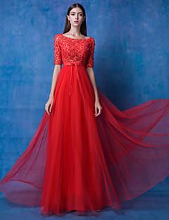 Fiesta formal Vestido - Rojo Corte en A Hasta el Suelo - Joya Encaje / Tul