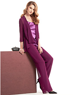 Lanting Sheath/Column Mother of the Bride Dress - Grape Ankle-length 3/4 Length Sleeve Chiffon / Charmeuse